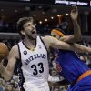 Memphis Grizzlies\' Marc Gasol (33), of Spain, goes to the basket around New York Knicks\' Rasheed Wallace, right, during the second half of an NBA basketball game in Memphis, Tenn., Friday, Nov. 16, 2012. Gasol scored 24 points in the Grizzlies 105-95 victory over the Knicks. (AP Photo/Danny Johnston)