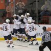 The OKC Barons celebrate after a goal during a game between the Oklahoma City Barons and the Toronto Marlies at the Cox Convention Center in Oklahoma City, Friday, May 18, 2012. Photo by Garett Fisbeck, For The Oklahoman