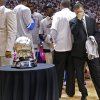 Scott Brooks reacts after the Thunder\'s 107-99 win over the Spurs during Game 6 of the Western Conference Finals between the Oklahoma City Thunder and the San Antonio Spurs in the NBA playoffs at the Chesapeake Energy Arena in Oklahoma City, Wednesday, June 6, 2012. Photo by Chris Landsberger, The Oklahoman