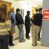 Voters line up outside precinct W25 in Cape Fear Community College\'s T Building before the polls open Tuesday Nov. 6, 2012 in Wilmington, N.C. (AP Photo/The Star-News, Paul Stephen)