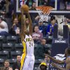 Indiana Pacers\' Paul George (24) takes the ball to the basket for a slam dunk during the first half of an NBA basketball game against the Dallas Mavericks in Indianapolis, Friday, Nov. 16, 2012. (AP Photo/Doug McSchooler)