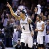 San Antonio\'s Danny Green (4) celebrates a 3-point shot during Game 5 of the Western Conference Finals in the NBA playoffs between the Oklahoma City Thunder and the San Antonio Spurs at the AT&T Center in San Antonio, Thursday, May 29, 2014. Photo by Sarah Phipps, The Oklahoman