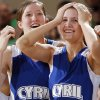 Cyril\'s Emily Horn and Chelsea Reynolds (20) react to the overtime win against Lomega during the semifinals of the Class B girls Oklahoma State Basketball Championships at the State Fair Arena on Friday, March 6, 2009, in Oklahoma City, Okla. PHOTO BY CHRIS LANDSBERGER