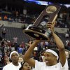 NCAA TOURNAMENT, WOMEN\'S COLLEGE BASKETBALL: University of Tennessee\'s Alexis Hornbuckle (14) raises the regional champion trophy after the NCAA Women\'s Basketball Tournament regional final between Tennessee and Texas A&M at the Ford Center in Oklahoma City, Tuesday, April 1, 2008. Tennessee won, 53-45. BY NATE BILLINGS, THE OKLAHOMAN