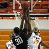 Oklahoma State\'s Le\'Bryan Nash (2) and Kamari Murphy (21) defend against Portland State\'s Renado Parker (30) during the college basketball game between Oklahoma State University and Portland State, Sunday,Nov. 25, 2012. Photo by Sarah Phipps, The Oklahoman