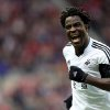 Photo - Swansea City's Wilfried Bony celebrates his goal during their English Premier League soccer match against Sunderland  at the Stadium of Light, Sunderland, England, Sunday, May 11, 2014. (AP Photo/Scott Heppell)