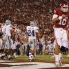 Oklahoma\'s Blake Bell (10) reacts after scoring a touchdown during the college football game between the University of Oklahoma Sooners (OU) and the Kansas State University Wildcats (KSU) at the Gaylord Family-Memorial Stadium on Saturday, Sept. 22, 2012, in Norman, Okla. Photo by Chris Landsberger, The Oklahoman
