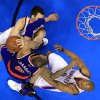 New YorK\'s Tyson Chandler (6) collides with Oklahoma City\'s Nick Collison (4) and Derek Fisher (6) during NBA basketball game between the Oklahoma City Thunder and the New York Knicks at the Chesapeake Energy Arena, Sunday, April 7, 2010, in Oklahoma City. Chandler was called for a technical foul. Photo by Sarah Phipps, The Oklahoman
