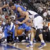 Oklahoma City\'s Nick Collison (4) and Dallas\' Brian Cardinal (35) fight for a loose ball during the pre season NBA game between the Dallas Mavericks and the Oklahoma City Thunder at the American Airlines Center in Dallas, Sunday, Dec. 18, 2011. Photo by Sarah Phipps, The Oklahoman