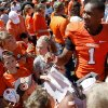 OSU\'s Joseph Randle meets fans after Oklahoma State\'s spring football game at Boone Pickens Stadium in Stillwater, Okla., Saturday, April 21, 2012. Photo by Bryan Terry, The Oklahoman