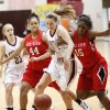 Del City\'s Mariah Jackson (44) and Mykael Williams (15) chase a loose ball with Edmond Memorial\'s Alie Decker (22), middle, near Andee Decker (23) during a girls high school basketball game between Edmond Memorial and Del City at Edmond Memorial High School in Edmond, Okla., Friday, Feb. 3, 2012. Photo by Nate Billings, The Oklahoman