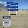 Signs are seen at the Hawthorne Army Depot on Tuesday, March 19, 2013, where seven Marines were killed and several others seriously injured in a training accident Monday night, about 150 miles southeast of Reno in Nevada\'s high desert. (AP Photo/Scott Sonner)