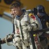 This photo provided by Red Bull Stratos shows pilot Felix Baumgartner of Austria reacting after his mission was aborted in Roswell, N.M., Tuesday, Oct. 9, 2012. For the second straight day, extreme athlete Felix Baumgartner aborted his planned death-defying 23-mile free fall because of the weather, postponing his quest to become the world\'s first supersonic skydiver until at least Thursday. (AP Photo/Red Bull Stratos, Joerg Mitter)