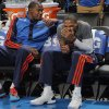 Oklahoma City\'s Kevin Durant (35) and Russell Westbrook (0) joke around on the bench in pre game during the NBA basketball game between the Oklahoma City Thunder and the Dallas Mavericks at Chesapeake Energy Arena in Oklahoma City, Okla. on Wednesday, Nov. 6, 2013. PHOTO BY CHRIS LANDSBERGER, The Oklahoman