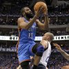 Oklahoma City\'s James Harden (13) goes past Jason Kidd (2) of Dallas during game 5 of the Western Conference Finals in the NBA basketball playoffs between the Dallas Mavericks and the Oklahoma City Thunder at American Airlines Center in Dallas, Wednesday, May 25, 2011. Photo by Bryan Terry, The Oklahoman