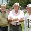 Golfers, from left, Jack Nicklaus,, Arnold Palmer and Gary Player, right, pose for a picture on the first tee of the Greats of Golf event Saturday, May 5, 2012, in The Woodlands, Texas. (AP Photo/Dave Einsel)