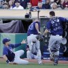 From left Tampa Bay Rays first baseman James Loney, pitcher Alex Cobb, and catcher Jose Lobaton miss a pop foul hit by the Oakland Athletics\' Yoenis Cespedes during the first inning of their baseball game Saturday, Aug. 31, 2013, in Oakland, Calif. (AP Photo/Eric Risberg)