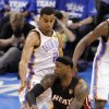 Oklahoma City\'s Thabo Sefolosha (2) defends on Miami\'s LeBron James (6) during Game 2 of the NBA Finals between the Oklahoma City Thunder and the Miami Heat at Chesapeake Energy Arena in Oklahoma City, Thursday, June 14, 2012. Photo by Chris Landsberger, The Oklahoman