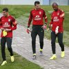 Photo - In this photo released by the Confederacao Brasileira de Futebol (CBF), Brazil's goalkeepers, from left, Julio Cesar, Victor, and Jefferson walk together at the Granja Comary training center in Teresopolis, Brazil, Tuesday, May 27, 2014. Brazil is hosting the World Cup soccer tournament which starts in June. (AP Photo/Rafael Ribeiro, CBF)
