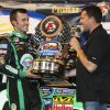 Austin Dillon celebrates with track owner Tony Stewart in Victory Lane after winning the NASCAR truck series Inaugural Mudsummer Classic at Eldora Speedway, Wednesday, July 24, 2013. (AP Photo/Dayton Daily News, Greg Lynch) (WKEF, WRGT, WDTN)