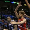 Oklahoma City\'s Kendrick Perkins (5) goes past Portland\'s Robin Lopez (42) during an NBA basketball game between the Oklahoma City Thunder and the Portland Trail Blazers at Chesapeake Energy Arena in Oklahoma City, Tuesday, Dec. 31, 2013. Photo by Bryan Terry, The Oklahoman