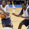 Oklahoma City\'s Kevin Durant and Kendrick Perkins go through drills during the NBA Finals practice day at the Chesapeake Energy Arena on Monday, June 11, 2012, in Oklahoma City, Okla. Photo by Chris Landsberger, The Oklahoman