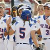 Florida celebrates a run by Kim Waleszonia (5) in the first inning during the softball game in the Women\'s College World Series between UCLA and Florida at ASA Hall of Fame Stadium in Oklahoma City, Saturday, May 31, 2008. Florida won, 2-0. BY NATE BILLINGS, THE OKLAHOMAN
