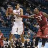 Stanford\'s Josh Huestis grabs a rebound from Washington State\'s D.J. Shelton in the first half of an NCAA Pac-12 conference tournament college basketball game, Wednesday, March 12, 2014, in Las Vegas. (AP Photo/Julie Jacobson)