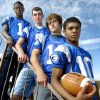 Photo - Guthrie quarterbacks (Left to Right) Kye Staley, Kale Powell, Josh Chappell & Demarcus Davis in 2004. Steve Gooch/The Oklahoman Archives <strong>Steve Gooch</strong>