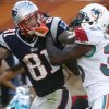 Miami Dolphins strong safety Chris Clemons (30) grabs New England Patriots tight end Aaron Hernandez (81) face mask during the second half of an NFL football game on Sunday, Dec. 2, 2012, in Miami. (AP Photo/John Bazemore)