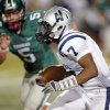 Edmond North\'s Marque Depp (7) runs after a catch as Norman North\'s Beau Proctor (5) pursues during a high school football game between Edmond North and Norman North in Norman, Okla., Thursday, Oct. 11, 2012. Photo by Nate Billings, The Oklahoman