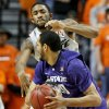 Oklahoma State\'s Michael Cobbins (20) defends Kansas State\'s Adrian Diaz (20) during an NCAA college basketball game between the Oklahoma State University Cowboys (OSU) and the Kansas State University Wildcats (KSU) at Gallagher-Iba Arena in Stillwater, Okla., Saturday, Jan. 21, 2012. Photo by Bryan Terry, The Oklahoman