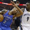Memphis\' Tony Allen (9) hits Oklahoma City\'s Caron Butler (2) as he comes down with a rebound during Game 6 in the first round of the NBA playoffs between the Oklahoma City Thunder and the Memphis Grizzlies at FedExForum in Memphis, Tenn., Thursday, May 1, 2014. Oklahoma City won 104-84. Photo by Bryan Terry, The Oklahoman