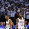 Oklahoma City\'s Kevin Durant (35) and Russell Westbrook (0) react in the final seconds of Game 2 of the NBA Finals between the Oklahoma City Thunder and the Miami Heat at Chesapeake Energy Arena in Oklahoma City, Thursday, June 14, 2012. Photo by Sarah Phipps, The Oklahoman
