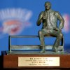 NBA BASKETBALL / NAME / NAMING: The Red Auerbach Trophy sits on the table following a press conference at the Ford Center in Oklahoma City, Oklahoma on Wednesday, April 21, 2010. Scott Brooks was named the NBA Coach of the Year. By John Clanton, The Oklahoman ORG XMIT: KOD