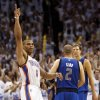 Oklahoma City\'s Russell Westbrook (0) reacts in front of Dallas\' Jason Kidd (2) and Dirk Nowitzki (41) at the end of Game 2 of the first round in the NBA basketball playoffs between the Oklahoma City Thunder and the Dallas Mavericks at Chesapeake Energy Arena in Oklahoma City, Monday, April 30, 2012. Oklahoma City won, 102-99. Photo by Nate Billings, The Oklahoman