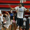 James Huffmyer, 6, gives Kevin Durant a high five during Durnat\'s basketball camp on Thursday, Aug. 7, 2014 in Moore, Okla. Photo by Steve Sisney, The Oklahoman