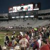 Photo -   Fans wait in the stands for Florida State and Savannah State to resume their lightning-delayed NCAA college football game on Saturday, Sept. 8, 2012, in Tallahassee, Fla. (AP Photo/Steve Cannon)