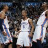 From left, Oklahoma City\'s Russell Westbrook (0), Eric Maynor (6) and Kevin Durant (35) react after Westbrook made a shot and was fouled in the fourth quarter during the NBA basketball game between the Orlando Magic and Oklahoma City Thunder in Oklahoma City, Thursday, January 13, 2011. Oklahoma City won, 125-124. Photo by Nate Billings, The Oklahoman
