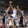 Oklahoma City\'s Russell Westbrook drives past San Antonio\'s Boris Diaw and Tim Duncan (21) during Game 6 of the Western Conference Finals between the Oklahoma City Thunder and the San Antonio Spurs in the NBA playoffs at the Chesapeake Energy Arena in Oklahoma City, Wednesday, June 6, 2012. Photo by Chris Landsberger, The Oklahoman
