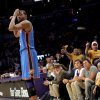 Lakers\' fans react to Oklahoma City\'s Kevin Durant (35) during Game 4 in the second round of the NBA basketball playoffs between the L.A. Lakers and the Oklahoma City Thunder at the Staples Center in Los Angeles, Saturday, May 19, 2012. Photo by Nate Billings, The Oklahoman