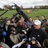 Philadelphia Eagles head coach Andy Reid speaks to the media after NFL football practice at the team\'s training facility, Thursday, Nov. 1, 2012, in Philadelphia. (AP Photo/Matt Slocum) ORG XMIT: PAMS103