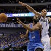Oklahoma City\'s James Harden (13) passes the ball beside Shawn Marion (0) of Dallas during game 5 of the Western Conference Finals in the NBA basketball playoffs between the Dallas Mavericks and the Oklahoma City Thunder at American Airlines Center in Dallas, Wednesday, May 25, 2011. Photo by Bryan Terry, The Oklahoman