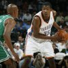 Oklahoma City\'s Kevin Durant looks past the defense of Boston\'s Ray Allen in the first half during the NBA basketball game between the Oklahoma City Thunder and the Boston Celtics at the Ford Center in Oklahoma City, Wednesday, Nov. 5, 2008. BY NATE BILLINGS, THE OKLAHOMAN ORG XMIT: KOD