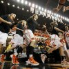 The OSU Cowgirls take the floor before the Women\'s NIT championship college basketball game between Oklahoma State University and James Madison at Gallagher-Iba Arena in Stillwater, Okla., Saturday, March 31, 2012. Photo by Nate Billings, The Oklahoman