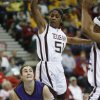 Shalee Lehning drives past Sydney Colson (51) during the 2009 Big 12 Women\'s Basketball Championship game between Kansas State Wildcats and the Texas A&M Aggies in the Cox Convention Center in Oklahoma City, Oklahoma, on Friday, March 13, 2009. PHOTO BY STEVE SISNEY, THE OKLAHOMAN