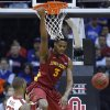Iowa State\'s Melvin Ejim (3) dunks over Oklahoma\'s Amath M\'Baye (22) during the Phillips 66 Big 12 Men\'s basketball championship tournament game between the University of Oklahoma and Iowa State at the Sprint Center in Kansas City, Thursday, March 14, 2013. Photo by Sarah Phipps, The Oklahoman