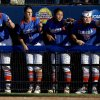 The Florida softball team chants during a Women\'s College World Series softball game between Nebraska and Florida at ASA Hall of Fame Stadium in Oklahoma City, Saturday, June, 1, 2013. Photo by Bryan Terry, The Oklahoman