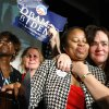 Lorraine Lovelace, center, of Oklahoma City hugs Neva Hames of Norman during the Democratic watch party for the presidential election in Oklahoma City, Tuesday, November 4, 2008. BY BRYAN TERRY, THE OKLAHOMAN