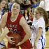 Fort Gibson\'s Brooke Palmer (24) gets the rebound in front of Mount Saint Mary\'s Jordan Hagood (15) during the state high school basketball tournament Class 4A girls championship game between Fort Gibson High School and Mount St. Mary High School at the State Fair Arena on Saturday, March 9, 2013, in Oklahoma City, Okla. Photo by Chris Landsberger, The Oklahoman